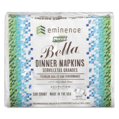 100% Premium Recycled Bella Dinner Napkins, 15 x 17, White, 3000