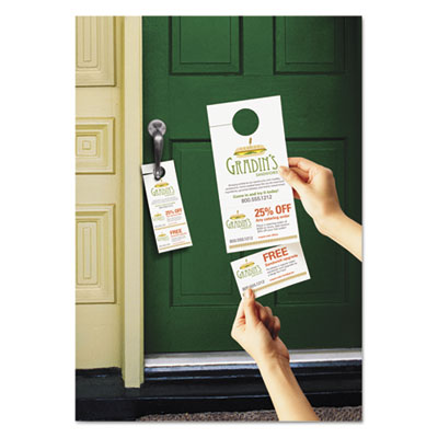 Door Hanger with Tear-Away Cards, 4-1/4 x 11, Matte White, 80 Do