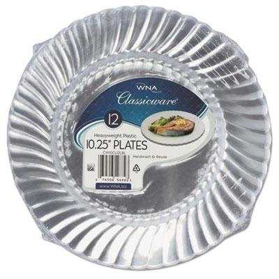 """Classicware Plastic Dinnerware Plates, 10 1/4"""" Dia, Clear, 12/Ba"""