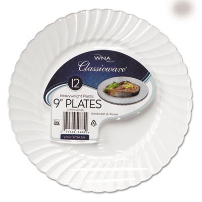 "Classicware Plastic Dinnerware Plates, 9"" Dia, White, 12/Bag, 18"