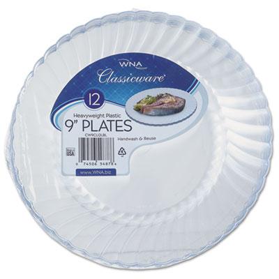 "Classicware Plastic Plates, 9"" Diameter, Clear, 12 Plates/Pack"