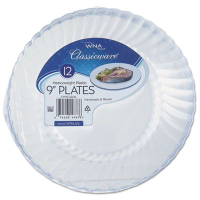 "Classicware Plastic Plates, 9"" Dia., Clear, 12 Plates/Pack, 15 P"