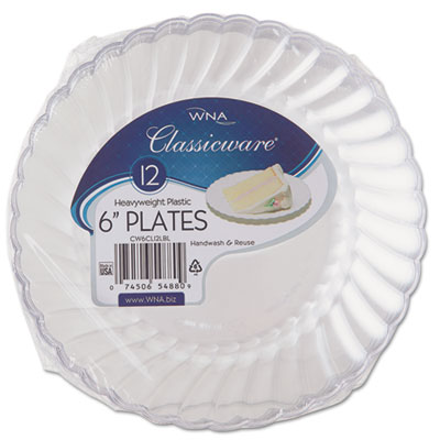 "Classicware Plastic Plates, 6"" Dia., Clear, 12 Plates/Pack, 15 P"