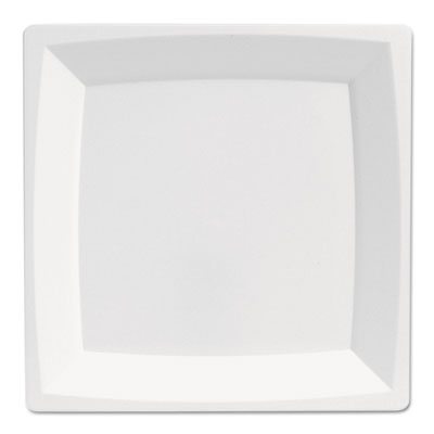 "Milan Plastic Dinnerware, Plate, 8.25"" sq, Plastic, White, 12/Pa"