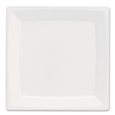 "Milan Plastic Dinnerware, Plate, 5.375\"" sq, Plastic, White, 12/P"