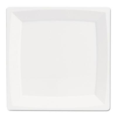 "Milan Plastic Dinnerware, Plate, 9.25\"" sq, Plastic, White, 12/Pa"