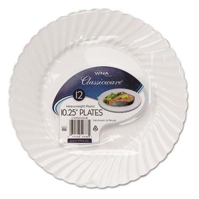 """Classicware Plastic Dinnerware Plates, 10 1/4"""" Dia, White, 12/Pa"""