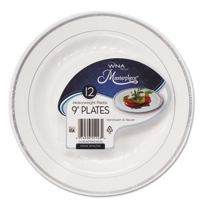 Masterpiece Plastic Plates, 9 in, White w/Silver Accents, Round,