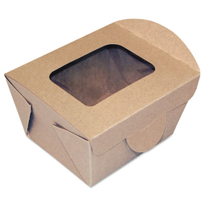 Windowed Food Container, Kraft, 4 5/16 x 3 5/8 x 3 5/64, 50/Pack