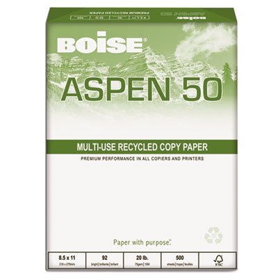 ASPEN 50% Recycled Office Paper, 92 Bright, 20lb, 8-1/2 x 11, Wh
