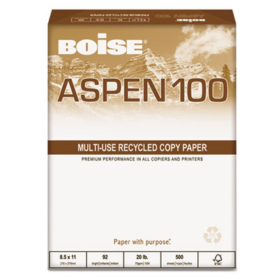 ASPEN 100 Office Paper, 92 Brightness, 20lb, 8-1/2 x 14, White,