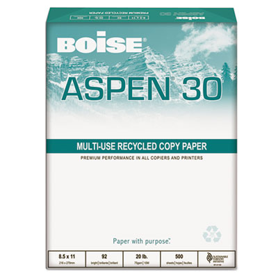 ASPEN 30% Recycled Office Paper, 3-H, 92 Bright, 20lb, 8-1/2 x 1