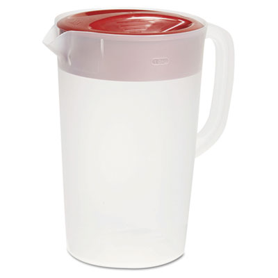 VPlastic Pitcher, 1gal, Translucent White/Red, Pour/Strain Lid,