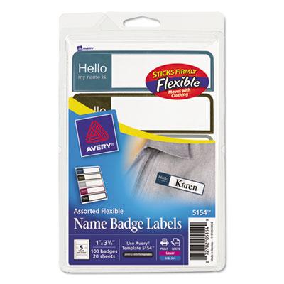 "Printable Flexible Name Badge Labels, 1 x 3-3/4, ""Hello"", Prof."