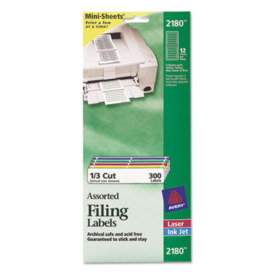 File Folder Labels on Mini-Sheets, 2/3 x 3-7/16, Assorted, 300/P