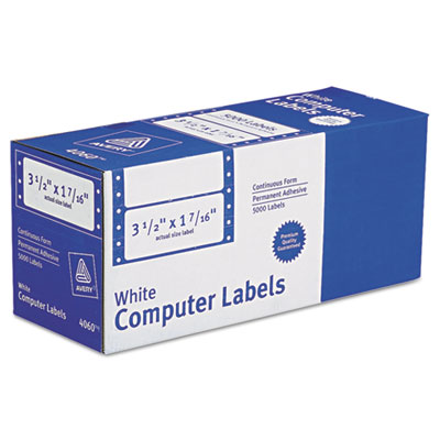 Dot Matrix Printer Address Labels, 1 Across, 1-7/16 x 3-1/2, Whi