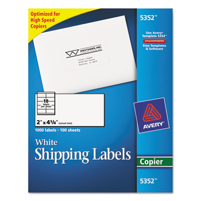 Self-Adhesive Shipping Labels for Copiers, 2 x 4-1/4, White, 100