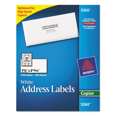 Self-Adhesive Address Labels for Copiers, 1-1/2 x 2-13/16, White