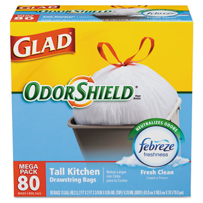 OdorShield Tall Kitchen Drawstring Trash Bags, Fresh Clean Scent