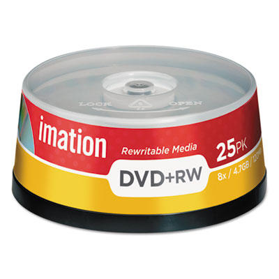 DVD+RW Discs, 4.7GB, 8x, Spindle, Silver, 25/Pack