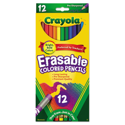Erasable Colored Woodcase Pencils, 3.3 mm, 12 Assorted Colors/Se