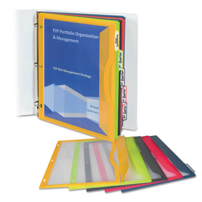 Binder Pocket With Write-On Index Tabs, 8-1/2 x 11, Assorted, 5/