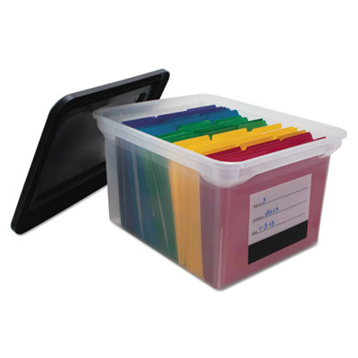 File Tote Storage Box with Snap-on Lid Closure, Letter/Legal, Cl