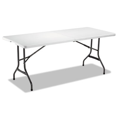 Fold-in-Half Resin Folding Table, 71w x 30d x 29h, White