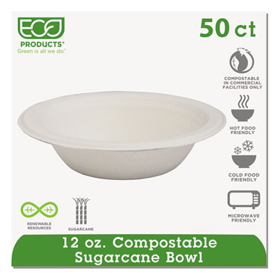 Compostable Sugarcane Dinnerware, 12oz Bowl, Natural White, 50/P