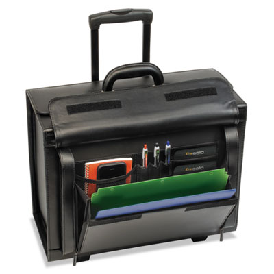 "Classic Leather Rolling Catalog Case,16"", 18 x 8 3/14 x 14, Blac"