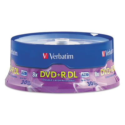 Dual-Layer DVD+R Discs, 8.5GB, 8x, Spindle, 30/PK, Silver