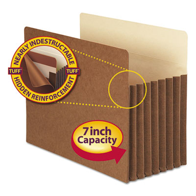 """7"""" Exp Pocket with Tyvek, Straight, Letter, Manila/Redrope, 5/Box<br />91-SMD-73395"""