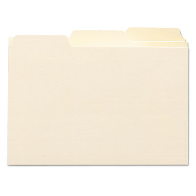 Self-Tab Card Guides, Blank, 1/3 Tab, Manila, 4 x 6, 100/Box