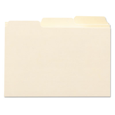 Self-Tab Card Guides, Blank, 1/3 Tab, Manila, 5 x 8, 100/Box