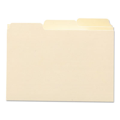 Self-Tab Card Guides, 1/3 Tab, Manila, 3 x 5, 100/Box