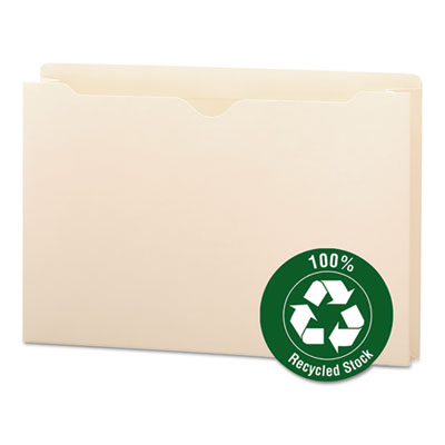 100% Recycled Top Tab File Jackets, Legal, 2&quot; Exp, Manila, 50/Box<br />91-SMD-75607