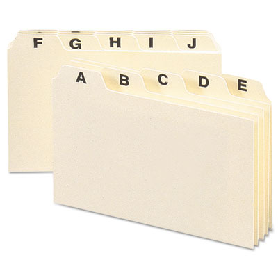 Self-Tab Card Guides, Alpha, 1/5 Tab, Manila, 4 x 6, 25/Set