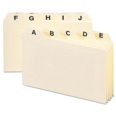 Self-Tab Card Guides, Alpha, 1/5 Tab, Manila, 4 x 6, 25/Set