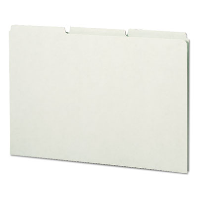 Green Recycled Tab File Guides, Blank, 1/3 Tab, Pressboard, Lega