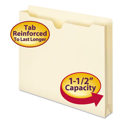 "Double-Ply File Jacket, 1 1/2"" Accordion Expansion, Ltr, 11 Poin"