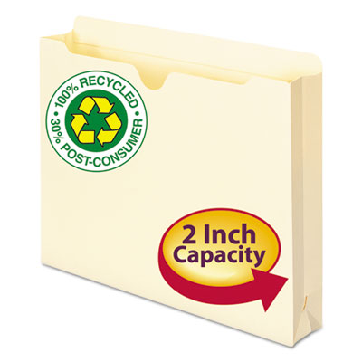 100% Recycled Top Tab File Jackets, Letter, 2&quot; Exp, Manila, 50/Box<br />91-SMD-75605