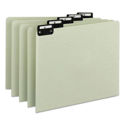 Green Recycled Top Tab Guides, Alpha, 1/5 Tab, Pressboard, Lette
