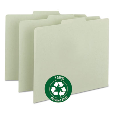 Green Recycled Tab File Guides, Blank, 1/3 Tab, Pressboard, Lett