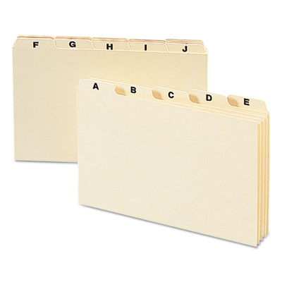 Self-Tab Card Guides, Alpha, 1/5 Tab, Manila, 5 x 8, 25/Set