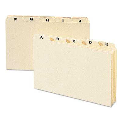Self-Tab Card Guides, Alpha, 1/5 Tab, Manila, 5 x 8, 25/Set