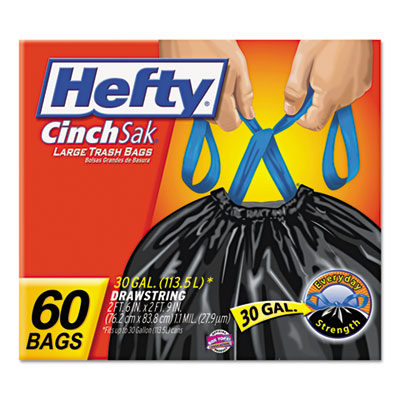 Cinch Sak Tall Kitchen & Trash Bags, 30 gal, Black, 60/Box, 3/Ca