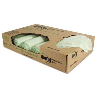 Biotuf Compostable Can Liners, 32 gal, 1 mil, 34 x 48, 100/Carto