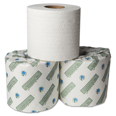 Boardwalk Green Plus Embossed Bathroom Tissue, White, 1-Ply, 550