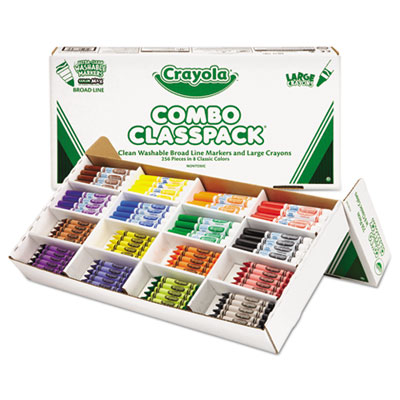 Classpack Crayons w/Markers, 8 Colors, 128 Each Crayons/Markers,
