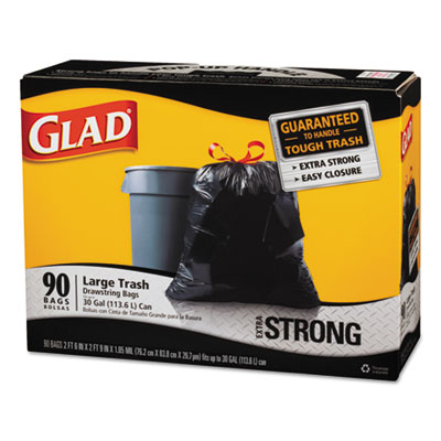 Drawstring Large Trash Bags, 30 x 33, 30gal, 1.1mil, Black, 90/C